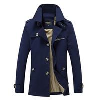 ingrosso giacche invernali lunghe invernali-Wholesale- Giacca da uomo giacca cappotto primavera e autunno uomo giacca casual lavato capispalla cappotti lunghi giacche di cotone invernale giù parka