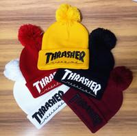 Wholesale Wholesale Winter Hats Custom - 8 colors Popular Winter Hats flanging cap hip hop Headgear knit hat custom knit hat wool cap star models Christmas Beanies Hats A+++++