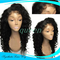 Wholesale Long Lace Front Heat Wig - Long Length Afro Kinky Curly Synthetic Lace Front Wig 180 Density Heat Resistant Fiber Hair Curly Wigs For Black Women