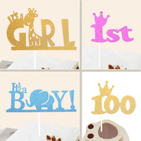 couronnes en gros pour baby shower achat en gros de-Vente en gros-Creative Kids Happy Birthday Cupcake Cake Topper Cake Flags Its A Girl Boy 1st Crown Baby Shower Birthday Festival Party Decor