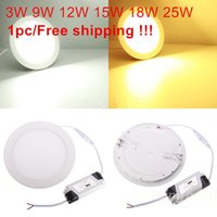 Wholesale Design Led Panel Light - Free Shipping NEW Hot Ultra Thin Design 3W 4W 6W 9W 12W 15W 25W LED Ceiling Recessed Grid Downlight   Round Panel Light