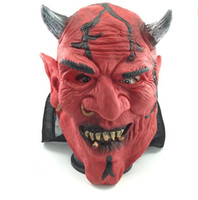Wholesale Cosplay Silicone Mask - Wholesale 2017 Halloween Cow Ox Devil Mask Horns King Latex Scary Full Head Mask Halloween Masquerade Mascara Terror Mask Cosplay Party Prop