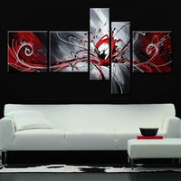 Wholesale Hand Painted Canvas Oil Art - Hand-painted modern wall art home decorative abstract oil painting on canvas Passion colors rendering red white balck art picture 5pcs set