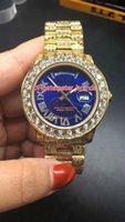 Wholesale Diamond Watch Band Men - NEW Luxury 40mm Big diamond Mechanical man blue face watch full diamond band Automatic Stainless steel men's AAA watches