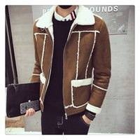Wholesale Wide Fur Lapel Mens Coat - Winter Jacket Fashion Korean Style Lambswool Sueded Men Thicken Warm Cotton-padded Clothes Mens Winter Coats US Size:XS-XL