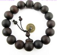 Wholesale bead treasures - Newest Bronze Coin Charm Treasure Beads Bracelet Black Elastic Beaded Women Men Jewelry Free Shipping