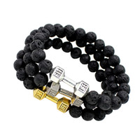 Wholesale Wholesale Fitness Charms - Wholesale-Dumbell Mens Gift Handmade Elastic Alloy Barbell & Lava Rock Stone Bead Buddha Bead Bracelet Fitness Fashion Dumbbell Bracelets