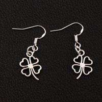 Wholesale Open Clover - Open Heart Clover Earrings 925 Silver Fish Ear Hook 40pairs lot Antique Silver Chandelier E368 11.3x34mm