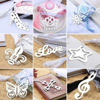 Wholesale cute metal bookmark - Cute Kawaii Heart Flower Metal Bookmark Lovely Crown Angel Clips Gift Creative Products Korean Stationery Wedding gifts