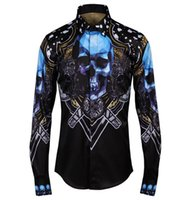 Wholesale Men Dress Causal Shirts - 2017 New Luxury Brand Floral Men's Print Blue Skull Stylish Shirts Long Sleeve Causal Slim Button Dress Clothes Man Shirt