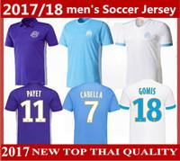 Wholesale Marseille Football Jersey - Top quality 2017 18 Olympique de Marseille soccer jersey home white away blue third purple 2018 SAKAI CLINTON THAUVIN PAYET football shirts