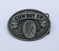 Wholesale Silver Oval Belt Buckles - Oval Desgin CowBoy Up Belt Buckle SW-BY636 suitable for 4cm wideth snap on belt with continous stock