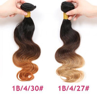 Wholesale remy extensions ombre hair weave resale online - 9A quality Virgin Hair Body Wave Ombre Hair Extensions b b tone Unprocessed Remy Human Hair weaves