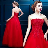 Wholesale Sexy Wedding Desses - Bright Red Strapless Wedding Desses Organza Appliques Beaded Plus Size Wedding Dresses A Line Bridal Gowns Custom Design
