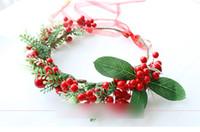 Wholesale Garland Hair Wreaths - Christmas stereo Artificial berry flowers Wreath Garlands Wedding Bridal Bridesmaid Floral Headband Girls Hair Accessories C1901