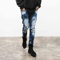Wholesale Denim Spots - Wholesale-High Quality Mens Ripped Biker Jeans blue Slim Fit small spots Pomo Motorcycle Jeans Men Vintage Distressed Denim Jeans Pants