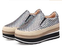 Wholesale Free Slope - Free shipping European and American fashion Thick soles of the slopes lazy round leather waterproof platform Straw Loafers shoes