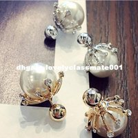 Wholesale Korean Ball Big Girl - 2016 Korean Style Fashion Big Pearl Jewelry Temperament Rhinestone Color Ball Stud Earrings For Girl ED019