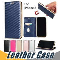 Wholesale Wholesale Magnetic Cards - For iPhone X 8 6 7 Plus 5 Magnetic Magnet Wallet Leather Case with Card Slot Flip Stand Case For S8 Plus S7 Edge