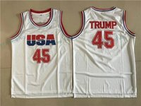 Wholesale Shirt Usa - Mens USA Basketball Jerseys Donald Trump 45 Jersey Stitched White Shirt 2016 Commemorative Edition Mesh Cheap S-XXL