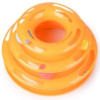 ingrosso track puzzle-Pet Toy Three Layers Intelligence Play Tray Cat Track Disco Disco Plate Green Orange Cats Giocattoli Puzzle Supplies Divertenti 15 5g F F R