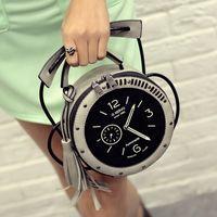 Wholesale Clock Bags - Wholesale-2016 New Fashion Style Clock Bugs Fringed Shoulder Messenger Bag Nice Women's Tassel Handbags Fashion Mini Crossbody bags
