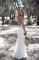 Weiß Backless Sommer Boho Beach Lace Brautkleid mit Spaghetti Straps