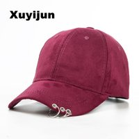 Wholesale White Safety Pins - Xuyijun 2016 Gd unisex solid Ring Safety Pin curved hats baseball cap men women Suede snapback caps casquette gorras