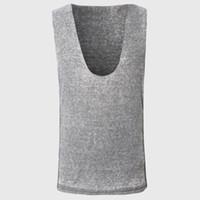Wholesale V Neck Tank Tops - Wholesale- Deep V Neck Sexy Men Tank Tops Plain Solid Casual Vest Plain Sleeveless Tee Shirts Cotton Luxury Fabric Teens Hip Hop Clothes