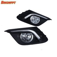 Wholesale Fog Lamp For Mazda - 12V LED car DRL daytime running lights with fog lamp hole for Mazda 3 axela 2014 2015
