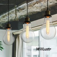Wholesale Transparent Filament - TEARDROP CLEAR GLASS FILAMENT SINGLE PENDANT lamp hanging lighting water drop transparent Vintage bulb loft Bar suspension Light MEGA BULB