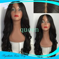 Natural Brazilian Loose Body Wave Resistente ao calor Sintético Lace Front Wigs For Black Women Parte média Melhor peruca da perna de renda