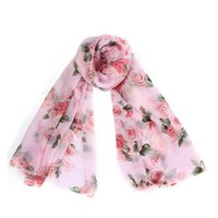 Wholesale Voile Red Rose - Wholesale-Creative 2016 New Fashion Scarf Women Rose Pattern Voile Long Smooth Scarves Elegant Romantic Charm Scarf