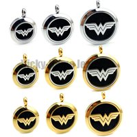 Wholesale Gold Locket China - Round Silver and Gold Wonder Woman (20-30mm) Aromatherapy   Essential Oils Stainless Steel Perfume Diffuser Locket