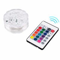 akülü led ışık tabanı toptan satış-RGB 10 Led Dalgıç Işık Pil Kumandalı Su Geçirmez Yüzme Havuzu Düğün Parti Piscina Gölet Vazo Baz Çiçek Aydınlatmaları
