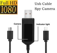 Wholesale Cable Spy Cameras - HD 1080P Charging Cable spy camera 8GB mini usb cable hidden camera Phone usb cable vedio camera support Motion detection and Loop Recording