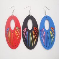 Mezcla de diferentes colores Mujeres Big Black / Blue / Red Wood Oval Earrings Small Hueco Oval Hoop Drop Dangle Earrings