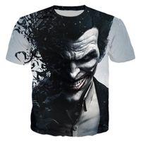 joker giyim erkek toptan satış-Toptan-İntihar Kadro Bayan Erkek Harley Quinn Joker T Shirt Adam 3D T Gömlek Siyah Kırmızı Kısa Kollu Giysiler