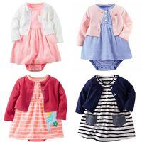 häkeln sticken großhandel-Baby Mädchen Mantel Kleid Kleidung Set Blumendruck Tuch Spitze häkeln bestickt Boutique Mädchen Outfit Neugeborenen Kleinkind