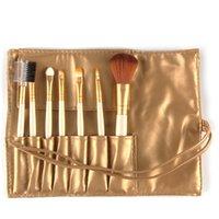 pincel de maquillaje suave al por mayor-Cepillo de maquillaje portátil Blush Lip Eyebrow Sombra de ojos Make Up Brush Soft Plastic sintético Handle Cepillos portátiles con PU Bag MAG5206 7pcs / set