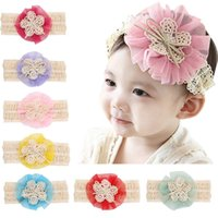 Wholesale Toddler Vintage Hair Accessories - 9.5cm Vintage Lace Chiffon Flower Headbands Toddler Bow Headbands Newborn Hair Accessories