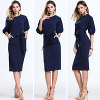 Wholesale Navy Casual Dress - 2017 Hot Dark Navy Women Office Dresses Half Sleeves Knee Length Clothing Women Work Wear Casual New Design Plaid Patchwork Dress FS0367