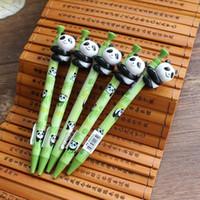 Wholesale Angels Pen - Funpanda panda doll hold bamboo pen panda base airport store for a ballpoint pen