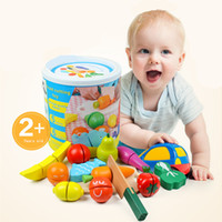 Wholesale Hot Classic Children Wooden Kitchen Toy Fruit and Vegetable Cutting Game Baby Educational Learning Toys Pretend Play Kitchens Food Kid Gift