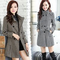 Wholesale Houndstooth Coat Xl - Women's autumn winter stand collar long sleeve houndstooth grid plaid print double breasted sashes with belt medium long woolen coat trench