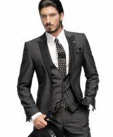 Wholesale Custom Skinny Ties - Wholesale- Custom Made Peaked Lapel Three Pieces Groom Tuxedos Wedding Party Groomsman Boys Suit (Jacket+Pants+Tie+Vest) Bridegroom Suit