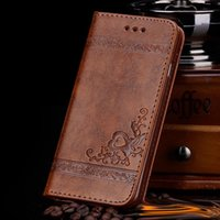 Wholesale Iphone Flower Flip Case - For iphone x Luxury brand leather wallet flip phone case For iPhone 8 7 6S 6 Plus Samsung Galaxy S8 Edge with card slots embossing flower