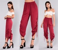 Wholesale M Lanyard - Elastic Waist Side Lanyard Pants Loose Straight Fashion Women Casual Pants Girl Ladies Sexy Clothes Trousers High Waist Pants