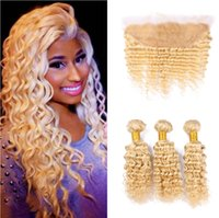 Wholesale Virgin Frontals - 613 blonde human hair and lace frontal 13*4 cheap virgin hair deep wave 3 bundles with 1pc ear to ear full lace frontals