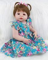 ingrosso bambola presente regalo-55 centimetri di corpo del silicone pieno Reborn Ragazze Baby Doll Giocattoli realistica 22inch Newborn principessa del bambino Babies bambola regalo di compleanno gli accessori del presente